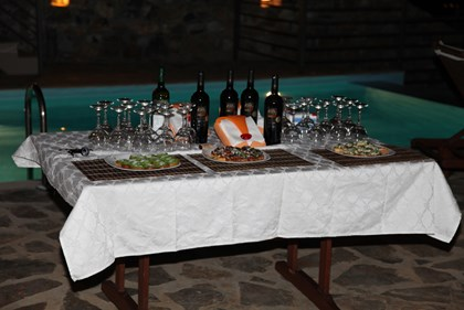 Crostinis arranged sensual wines from Lazaridis winery  arranged and our palettes engaging on a gastronomic trip.