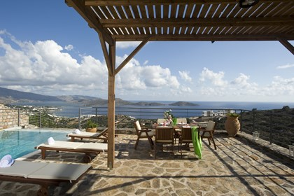 140 sq.m. terrace of Elounda Solfez Villas