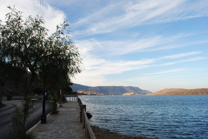 Pedestrian Beach road in Elounda, for romantic strolls