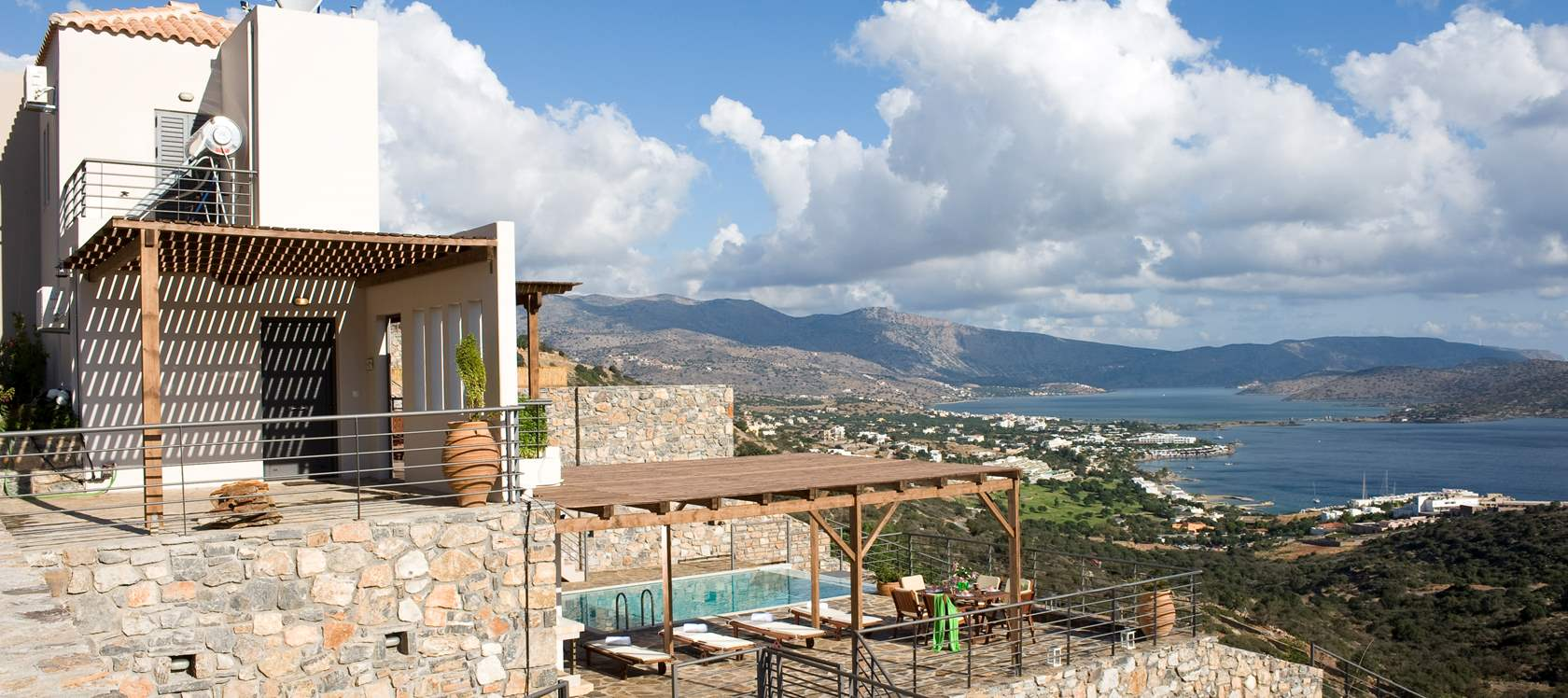 Panoramic view of Mirabello Bay from the villas